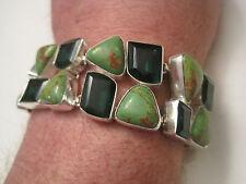 "Sterling Silver Overlay Bracelet, Green Lazuli & Emerald Green Quartz, 7"" to 8"""