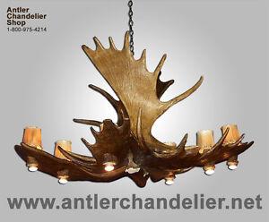 REAL ANTLER MOOSE POOL TABLE DEER CHANDELIER, 12 LIGHTS MOOSEPL-8, RUSTIC LAMPS