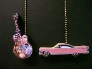 2 elvis presley guitar pink cadillac ceiling fan pull ebay image is loading 2 elvis presley guitar pink cadillac ceiling fan mozeypictures Choice Image