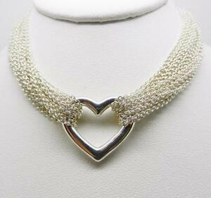 f3faa824ad93a Details about TIFFANY & CO STERLING SILVER OPEN HEART MUTI STRAND MESH  TOGGLE CHOKER NECKLACE
