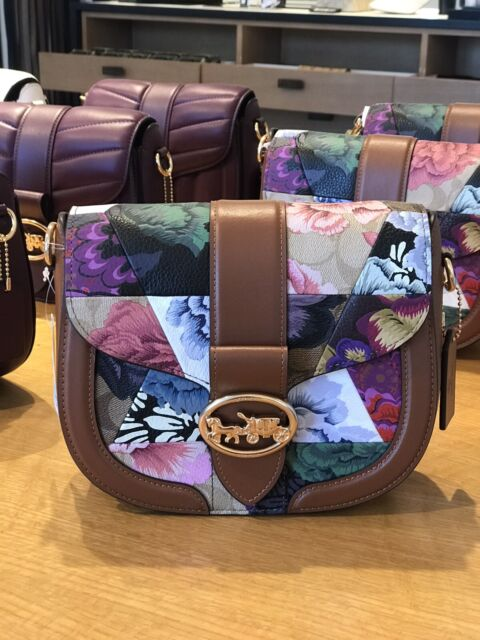 Coach Georgie Saddle Bag With Patchwork Kaffe Fassett Print Gorgeous NWTS Gift