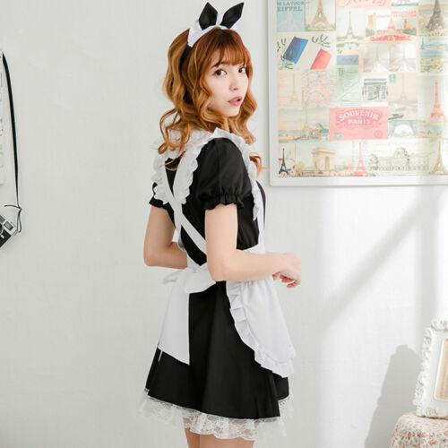 Women Lady Lolita Japanese Maid Fancy Dress Waitress Uniforms Cosplay Costume
