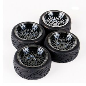 4PCS-Rubber-Tire-amp-Wheel-Rims-12mm-Hex-Set-For-HSP-HPI-1-10-RC-On-Road-Racing-Car
