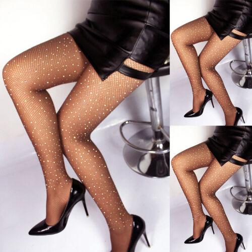 Women Crystal Rhinestone Fishnet Net Mesh Socks Stockings Tights Pantyhose