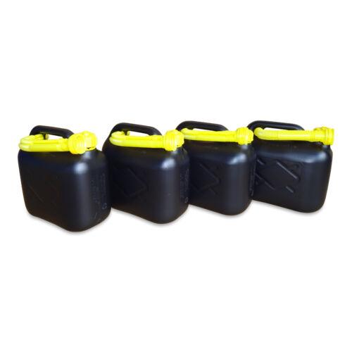 4 Stück 5 L Kraftstoffkanister Benzin Reserve Kanister Tank UN-Zulassung schwarz