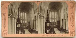 Belgium-Sughero-Interno-Da-La-Cattedrale-Foto-Stereo-Vintage-Albumina