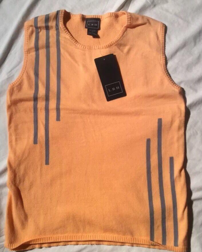 LBH Tennis Shirt orange Sleeveless Sweater Vest Womens Size Medium NWT