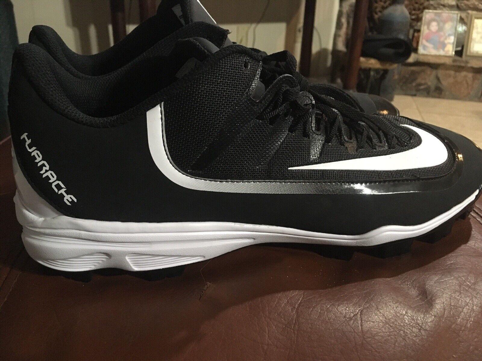 New Men's Huarache 2K 2K 2K Filth Pro Low Baseball Molded Cleats Talla 14 negro blancoo 27a3e5