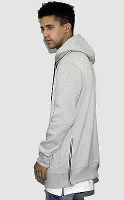 MENS GREY TALL LONGLINE COTTON HOODIE WITH SIDE ZIPS. PREMIUM QUALITY