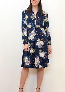 Teaberry-Floral-Blue-Pink-Button-Front-Shirt-Dress-Size-8-10-12-14-16