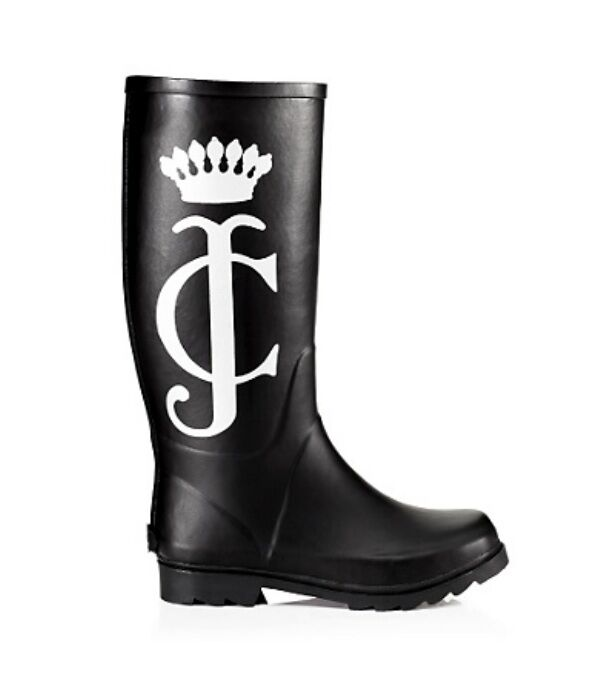 NEW IN BOX JUICY COUTURE SLICK JC CREST LOGO BLACK TALL RUBBER BOOTS