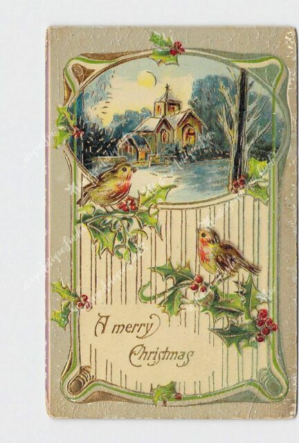 PPC POSTCARD MERRY CHRISTMAS HOLLY BIRDS CHURCH GOLD EMBOSSED