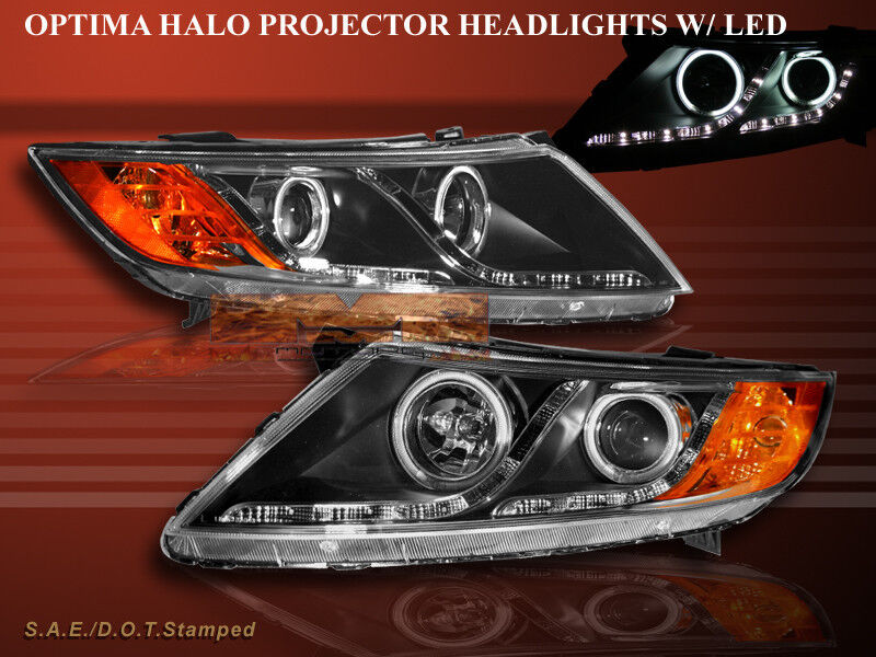 FOR 11-2013 OPTIMA SEDAN CCFL HALO PROJECTOR HEADLIGHTS WITH LED R8 STYLE STRIPS
