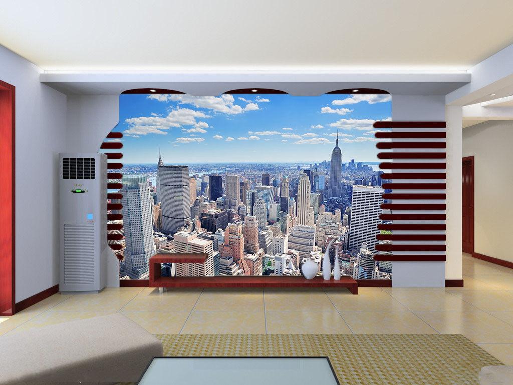 Papel Pintado Mural De Vellón Edificios Ciudad Cielo 3 Paisaje Fondo De Pansize