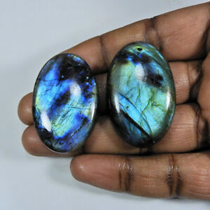 149Cts.Natural Labradorite Multi Fire Oval Cabochon Loose Gemstone 2Pcs Lot D510
