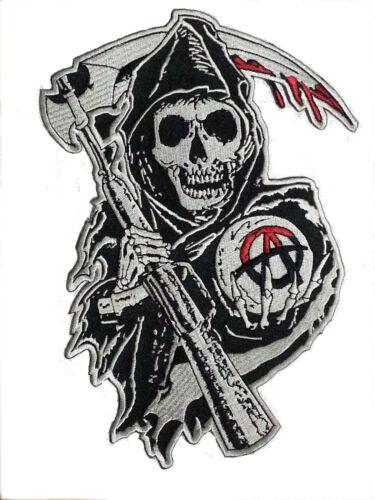 Grim Reaper Halloween Costumes Anarchy Biker Patch 23x14 cm