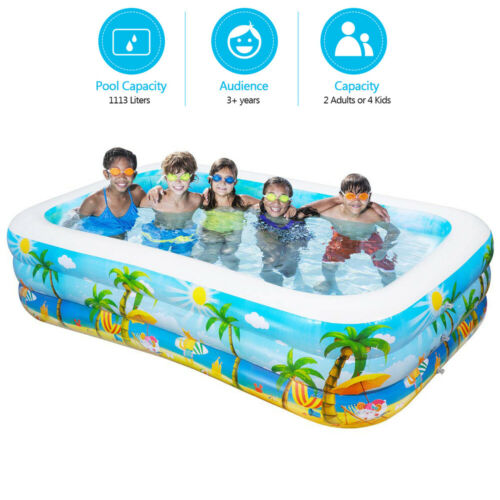 Swim Center Family Inflatable Pool Large Kiddie Inflatable Swimming Pool 102In