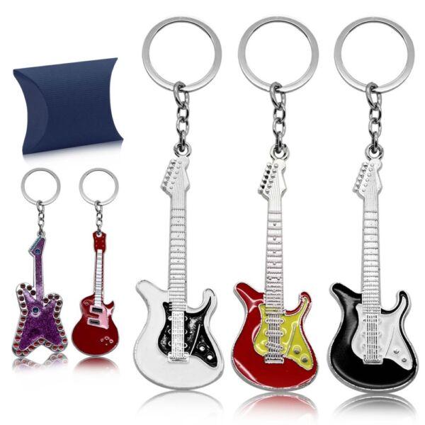 Edelstahl Gitarren Schlüsselanhänger Mit Etui Schlüsselring Anhänger Herren Rock