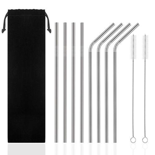 Bag Metal Drinking Straw Set US 2 Brushes 8 Stainless Steel Straws Reusable