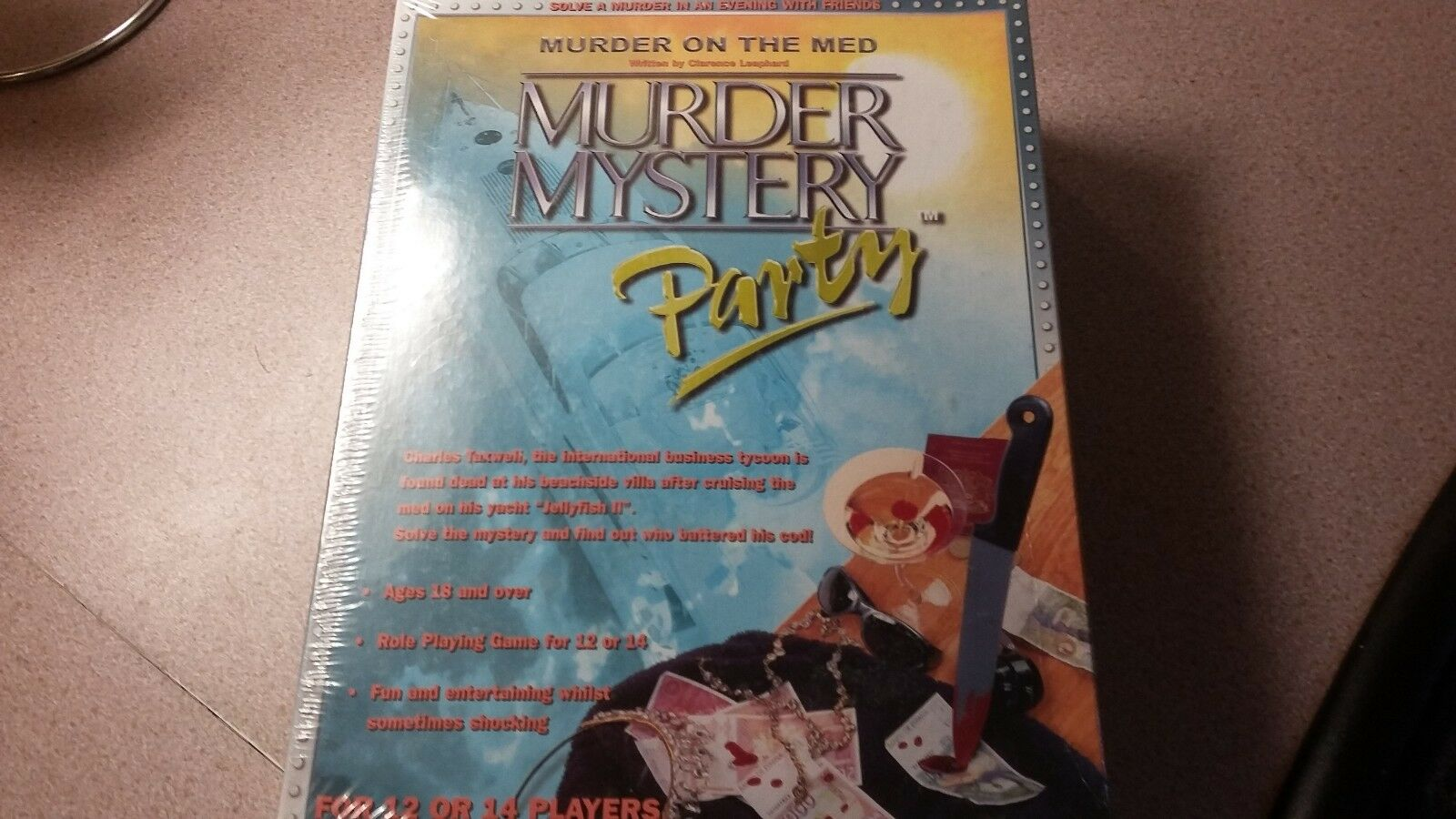 Brand New Factory Sealed Murder on the Med murder mystery party 12 or 14 players