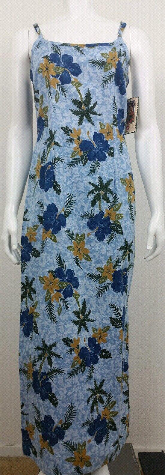 NEW Hilo Hattie Womens Dress Size 10 Hawaiian Floral Sleeveless bluee gold Green
