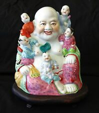 20CT Chinese Porcelain Buddha w. Children in Famille Rose on Fitted Stand (Won