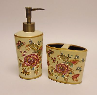 2 PC BEIGE+GOLD+MULTI COLOR FLORAL,BUTTERFLY, RESIN SOAP+LOTION DISPENSER+TOOTH