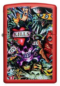 Zippo-Graffiti-Tattoos-Rot-Lighter-Benzin-Sturm-Feuerzeug