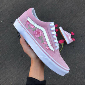 560d5cd01b Image is loading Old-Skool-Pink-Rose-Embroidery-Vans-Custom-Trainers