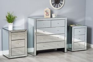 mirrored bedroom furniture set dressing table chest of drawers rh ebay co uk mirror bedroom furniture b&m mirror bedroom furniture australia