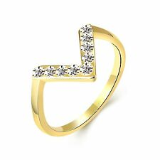 Gold V Letter Zircons large women wedding ring diameter 18 mm size Q FR204