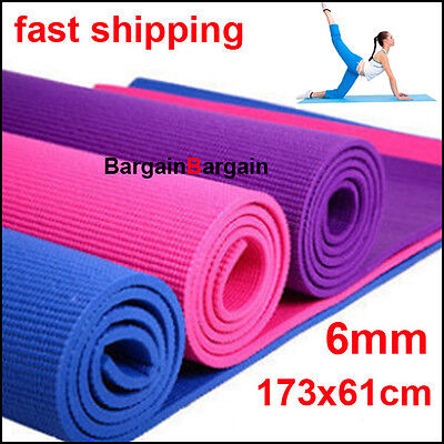 Thick aerobics yoga exercise gym mat non slip PVC 6mm multi color