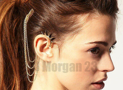 Ear Cuff Wrap to Hair Clip Chain. Choice of Silver or Gold Colour. UK