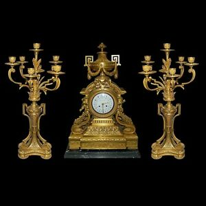 French Doré Bronze 3-pc Collectibles Clocks Neoclassical Clock Set #2617 Durable In Use