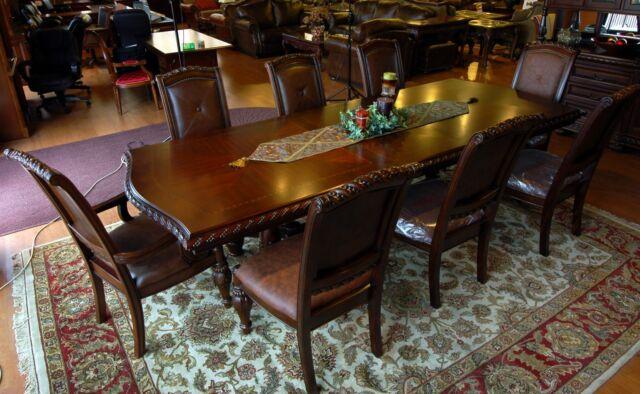 7 Piece Dark Cherry & Mahogany Dining Table & Chair Set