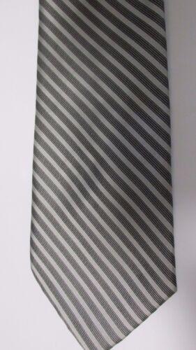 Silver /& Black Striped Mens Neck Tie Long Self Tie by Tallia Uomo Wedding