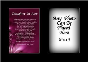 Image Is Loading Daughter In Law Poem Personalised With ANY PHOTO