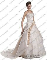 New Champagne One Shoulder Bridal Gown Wedding Dress Stock Size 6 8 10 12 14 16