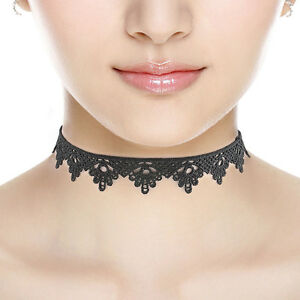 Black-Lace-Victorian-Vintage-Gothic-Collar-Choker-Necklace-Pendant-Jewelry