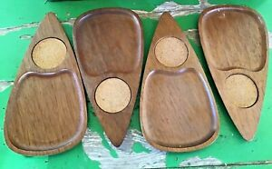 Mid-Century-Teardrop-Snack-Trays-Hand-Carved-Sere-Wood-amp-Cork-Set-of-4-Japan