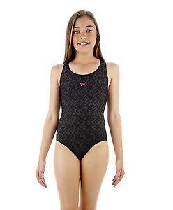 Speedo Girls Monogram Allover Splashback Swimsuit Childrens Swimming