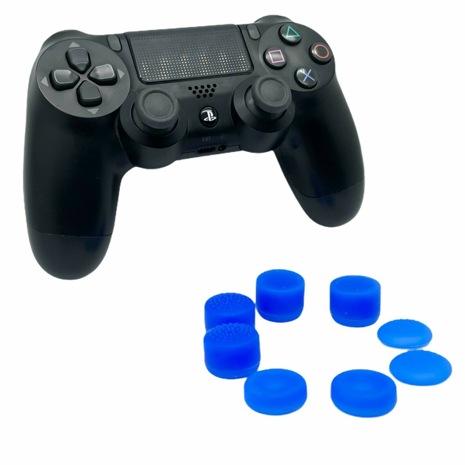 (BLUE) 8 PACK ThumbStick Cover Joystick Grip Caps Extenders For PS4 Controller