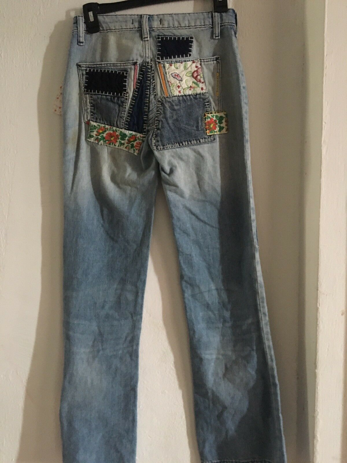 Libre People grand Leg Jeans Brodé Patch Work Sz 25 26  168