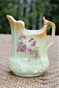 Vintage-Pitcher-5-034-Hand-Painted-Floral-Art-Deco