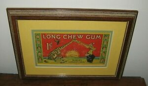 SMALL LONG CHEW GUM SIGN PROFESSIONALLY FRAMED
