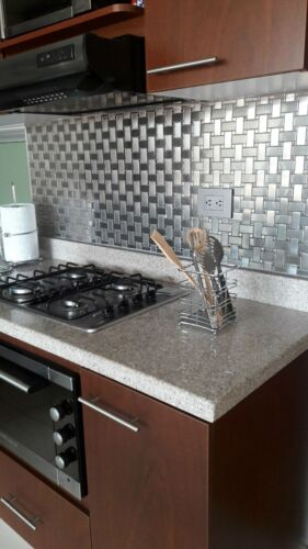 Stainless Steel Metal Basket Weave Mesh Mounted Sheet For Backsplash Wall Tile