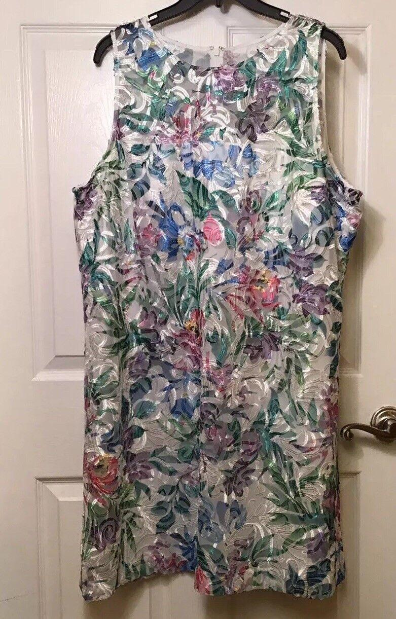 Tahari damen Größe 18 dresss Embroidery pastel MulticolGoldt Sleevless Sheath NWT