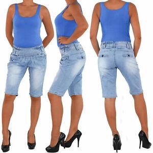 Damen-Capri-3-4-Jeans-Shorts-Bemuda-Kurze-Hueft-Stretch-Hose-Sommer-Blau-1303