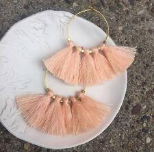 Boho Summer Earrings Soft Peach Apricot Tassel Fringe & Gold Plated Hoop Urban