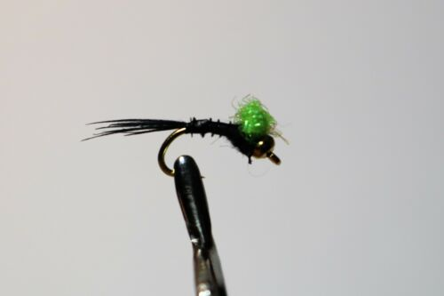 Fly Fishing 6 Black With a Florescent Lime Hotspot Trigger Nymph Flies Size 16